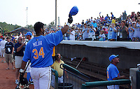 June 24, 2008: Ernesto Mejia acknowledges the cheers of the crowd after winning the Home Run Derby at the Carolina-California All-Star Game on June 24, 2008, at BB&T Coastal Field in Myrtle Beach. Photo: Tom Priddy /  Four Seam Images