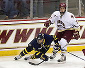 Francois Ouimet (Merrimack - 21), Carl Sneep (BC - 7) - The Boston College Eagles defeated the Merrimack College Warriors 4-3 on Friday, October 30, 2009, at Conte Forum in Chestnut Hill, Massachusetts.