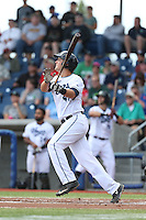 Trevor Matsui (41) of the Hillsboro Hops bats during a game against the Salem-Keizer Volcanoes at Ron Tonkin Field on July 26, 2015 in Hillsboro, Oregon. Hillsboro defeated Salem-Keizer, 4-3. (Larry Goren/Four Seam Images)