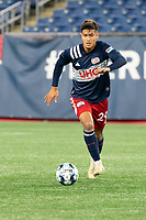 FOXBOROUGH, MA - OCTOBER 09: Nicolas Firmino #29 of New England Revolution II during a game between Fort Lauderdale CF and New England Revolution II at Gillette Stadium on October 09, 2020 in Foxborough, Massachusetts.