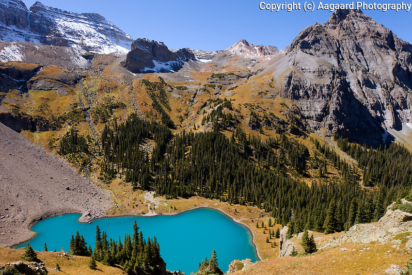 Lower Blue Lakes from above, Sneffels Wilderness, Colorado.<br /> <br /> It's a steep hike from the Lower Blue Lake to this overlook, but well worth the effort!<br /> <br /> Canon EOS 5D Mk II, 24mm lens