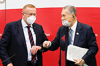 18th November 2020; Tokyo, Japan, John Coates and Yoshiro Mori, of the IOC Organising committee speak to press and media  media on the rescheduled 2020 Olympic Games in 2021