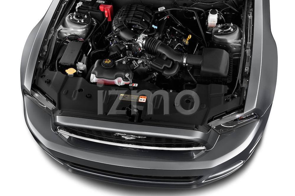 High angle engine detail of a 2013 Ford Mustang V6