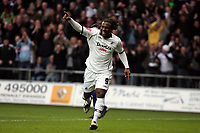 ATTENTION SPORTS PICTURE DESK<br /> Pictured: Jason Scotland of Swansea celebrating his second goal against Doncaster.<br /> Re: Coca Cola Championship, Swansea City FC v Doncaster Rovers at the Liberty Stadium. Swansea, south Wales, Saturday 21 February 2009<br /> Picture by D Legakis Photography / Athena Picture Agency, Swansea 07815441513