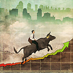 Illustrative image of man riding bull representing profit in stock market