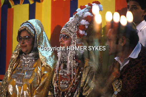 Ida Nudel in Israel dressed as a Yemeni Bride. 1985. Celebration party with sister Elena and brother in law.