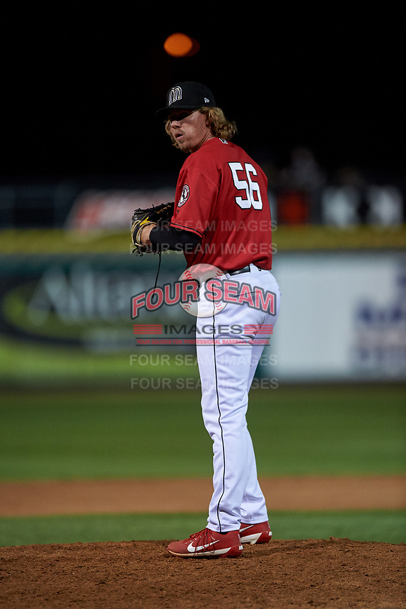 Billings Mustangs relief pitcher Jake Stevenson (56) during a Pioneer League game against the Grand Junction Rockies at Dehler Park on August 14, 2019 in Billings, Montana. Grand Junction defeated Billings 8-5. (Zachary Lucy/Four Seam Images)