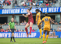 San Jose, Ca - December 4, 2016: First half action between University of West Virginia and University of Southern California in the championship match of the NCAA Women's Soccer College Cup at Avaya Stadium in San Jose California.