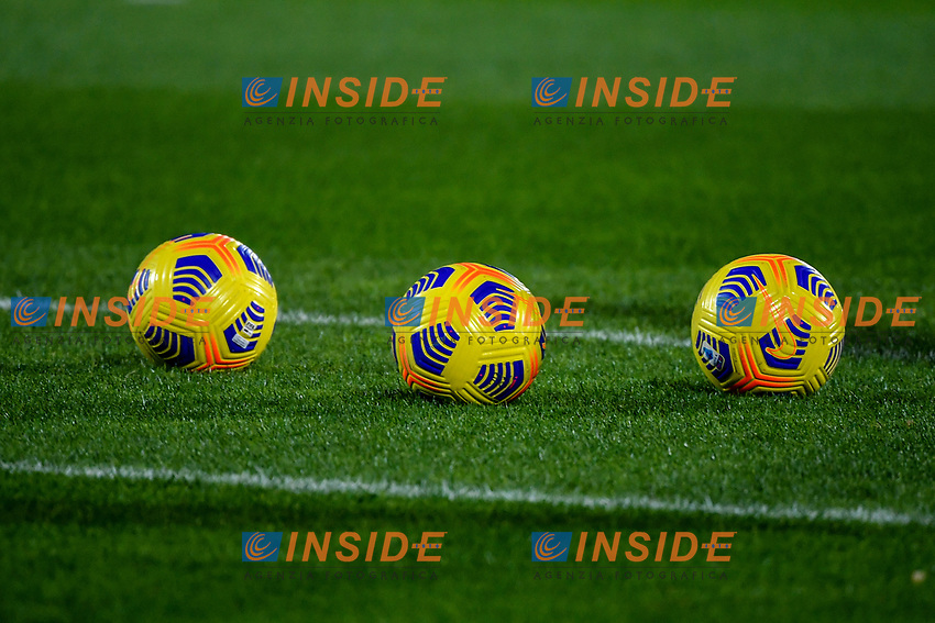 Three Serie A winter balls are seen on the pitch during the Serie A football match between Spezia Calcio and Atalanta BC at Dino Manuzzi stadium in Cesena (Italy), November 20th, 2020. Photo Andrea Staccioli / Insidefoto