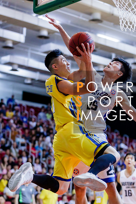 Lau Chi Kin #8 of Winling Basketball Club goes to the basket against the Eastern Long Lions during the Hong Kong Basketball League game between Eastern Long Lions and Winling at Southorn Stadium on June 01, 2018 in Hong Kong. Photo by Yu Chun Christopher Wong / Power Sport Images