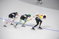 OLYMPIC GAMES: PYEONGCHANG: 09-02-2018, Gangneung Oval, Training session, Vanessa Herzog (AUT), Daniel Greig (AUS), Mathias Vosté (BEL), ©photo Martin de Jong