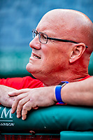 21 September 2018: Washington Nationals Director of Athletic Training Paul Lessard watches batting practice prior to a game against the New York Mets at Nationals Park in Washington, DC. The Mets defeated the Nationals 4-2 in the second game of their 4-game series. Mandatory Credit: Ed Wolfstein Photo *** RAW (NEF) Image File Available ***
