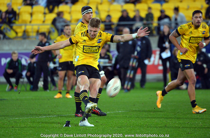 Hurricanes' Jordie Barrett kicks a penalty during the Super Rugby Tran-Tasman match between the Hurricanes and Reds at Sky Stadium in Wellington, New Zealand on Friday, 11 June 2020. Photo: Dave Lintott / lintottphoto.co.nz