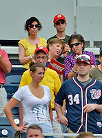 2 September 2012: Washington Nationals fans Sally Herschorn (left) and Josh Wolfstein (right) watch a game against the St. Louis Cardinals at Nationals Park in Washington, DC. The Nationals edged out the visiting Cardinals 4-3, capping their 4-game series with three wins. Mandatory Credit: Ed Wolfstein Photo