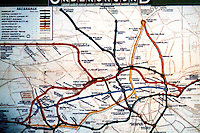 London: Underground in 1933--diagrammatic map by Henry Beck.  Reference only.
