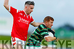Chris O'Donoghue, East Kerry in action against Alan O'Donoghue, St. Brendan's Board during the Kerry County Senior Football Championship Semi-Final match between East Kerry and St Brendan's at Austin Stack Park in Tralee, Kerry.