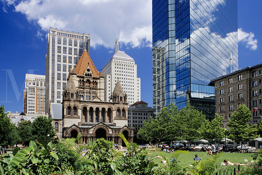 Boston, Mass..Looking across Copley Square to Trinty Church (L) and part of the Hancock building (Rt)