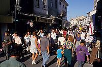 Crowds shopping in the souq markets of Izmir, Turkey.