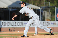 Delmarva Shorebirds starting pitcher Tim Berry #21 delivers a pitch during a game between the Delmarva Shorebirds and the Asheville Tourists at McCormick Field, Asheville, North Carolina April 7, 2012. The Tourists won game one of a double header  8-4  (Tony Farlow/Four Seam Images)..