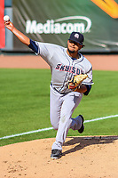 Colorado Springs Sky Sox pitcher Angel Ventura (38) warms up in the bullpen prior to game one of a Pacific Coast League doubleheader against the Iowa Cubs on August 17, 2017 at Principal Park in Des Moines, Iowa. Iowa defeated Colorado Springs 1-0. (Brad Krause/Four Seam Images)