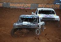 Mar. 20, 2011; Chandler, AZ, USA;  LOORRS pro four driver Josh Merrell (22) leads Rick Huseman during round two at Firebird International Raceway. Mandatory Credit: Mark J. Rebilas-