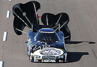 Feb. 23, 2013; Chandler, AZ, USA; NHRA funny car driver Jack Beckman during qualifying for the Arizona Nationals at Firebird International Raceway. Mandatory Credit: Mark J. Rebilas-