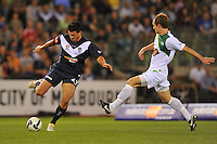 MELBOURNE, AUSTRALIA - FEBRUARY 5, 2010: Nik Mrdja from Melbourne Victory kicks the ball in round 26 of the A-league match between Melbourne Victory and North Queensland Fury at Etihad Stadium on February 5, 2010 in Melbourne, Australia. Photo Sydney Low www.syd-low.com