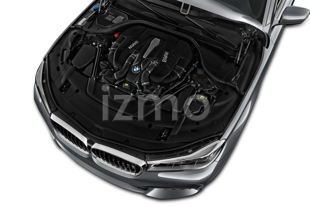 Car Stock 2016 BMW 7 Series M Sport 4 Door Sedan Engine  high angle detail view