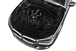 Car Stock 2016 BMW 7 Series M Sport 4 Door Sedan Engine  high angle detail view