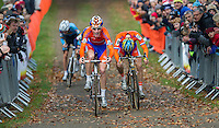 03 NOV 2012 - IPSWICH, GBR - Mike Teunissen (NED) (left) of the Netherlands out sprints team mate Corne van Kessel (NED) (right) to the finish line at the end of the Under 23 Men's European Cyclo-Cross Championships in Chantry Park, Ipswich, Suffolk, Great Britain (PHOTO (C) 2012 NIGEL FARROW)