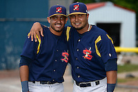 State College Spikes Luis Cruz (4) and Ronnierd Garcia (57) poses for a photo before a game against the Batavia Muckdogs on June 22, 2014 at Dwyer Stadium in Batavia, New York.  State College defeated Batavia 10-3.  (Mike Janes/Four Seam Images)