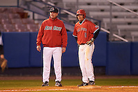 Ball State Cardinals right fielder Alex Call (8) with head coach Rich Maloney during a game against the Wisconsin-Milwaukee Panthers on February 26, 2016 at Chain of Lakes Stadium in Winter Haven, Florida.  Ball State defeated Wisconsin-Milwaukee 11-5.  (Mike Janes/Four Seam Images)