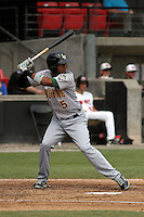 Lynchburg Hillcats designated hitter Edward Salcedo #5 at bat during a game against the Carolina Mudcats at Five County Stadium on April 26, 2012 in Zebulon, North Carolina. Carolina defeated Lynchburg by the score of 8-5. (Robert Gurganus/Four Seam Images)