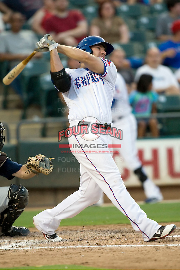 Round Rock Express third baseman Chris Davis #19 at bat during a game against the New Orleans Zephyrs at the Dell Diamond on July 21, 2011 in Round Rock, Texas.  New Orleans defeated Round Rock 7-4.  (Andrew Woolley/Four Seam Images)