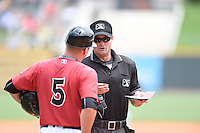 ***Temporary Unedited Reference File***Umpire Blake Carnahan during a game between the Pensacola Blue Wahoos and Birmingham Barons on May 2, 2016 at Regions Field in Birmingham, Alabama.  Pensacola defeated Birmingham 6-3.  (Mike Janes/Four Seam Images)