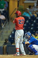Aristides Aquino (27) of the Louisville Bats at bat against the Durham Bulls at Durham Bulls Athletic Park on May 28, 2019 in Durham, North Carolina. The Bulls defeated the Bats 18-3. (Brian Westerholt/Four Seam Images)