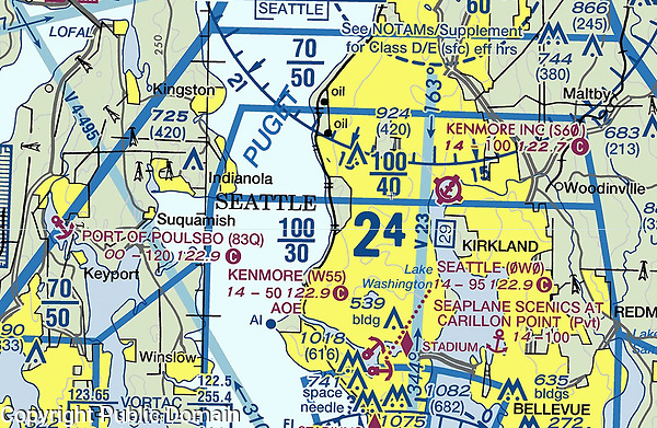 Sectional aviation chart of seaplane bases in Puget Sound, Washington, including the Kenmore Air Habor Seaplane Base (W55) also known as the Seattle Lake Union Seaplane Base is a public international seaplane base.  Both Kenmore Air and Harbor Air operate airlines from this seaplane base.  The chart also shows the location of Kenmore Air Harbor Inc. Seaplane Base (S60), the Port of Poulsboro seaplane base ((83Q) and the private seaplane base, Seaplane Scenics at Carillon Point.