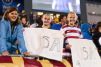 United States (USA) fans. The United States (USA) and Germany (GER) played to a 2-2 tie during an international friendly at Rentschler Field in East Hartford, CT, on October 23, 2012.