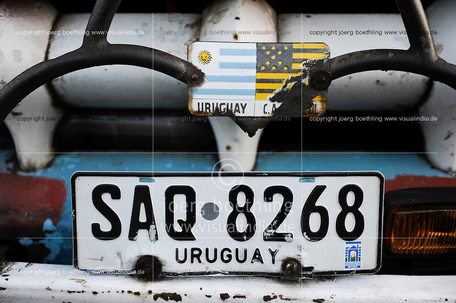 URUGUAY Montevideo, number plate of old Ford pick-up