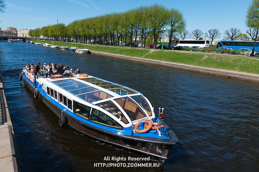Tour Boat With Tourists On River, St Petersburg