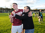 St Joseph's Doora Barefield's Alan O Neill is congratulated following their Intermediate county final win over Broadford  in Cusack Park. Photograph by John Kelly.