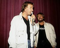Christophe Lambert et Luc Besson, realisateur du film  SUBWAY (France) au Festival des Films du Monde 1985<br /> <br /> PHOTO :   Agence Quebec Presse