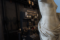 Details of a control panel of the diesel engines. Hall of the Machines. Centrale Montemartini. Rome, Italy. Mar. 07, 2015