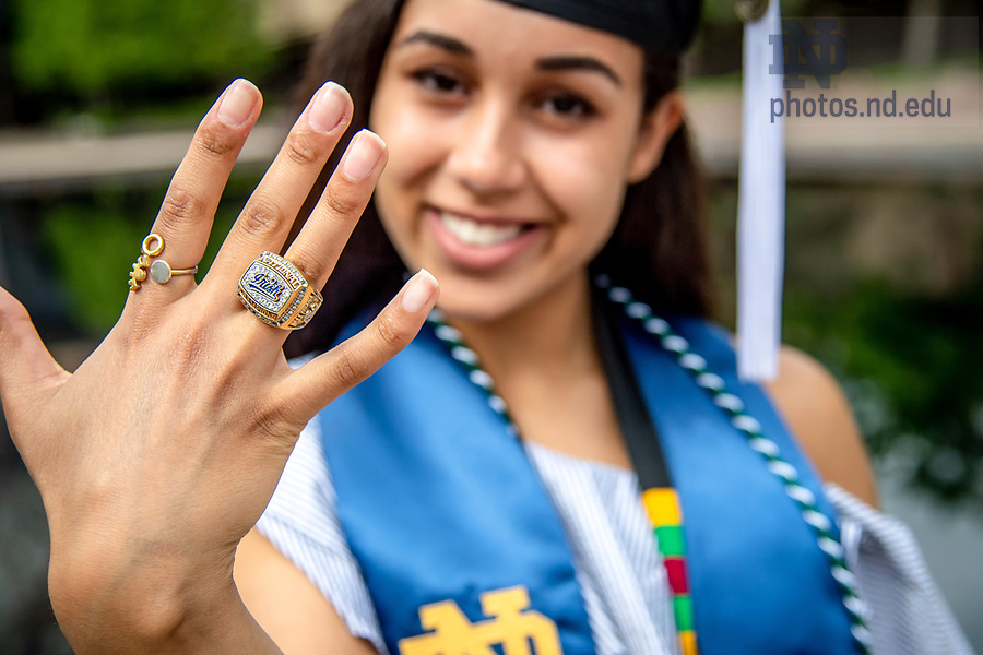 May 20, 2018; Fencer Reagan Fitzgerald shows off her national championship ring following the 2018 Commencement ceremony. (Photo by Matt Cashore/University of Notre Dame)