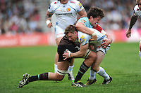Will Chudley of Exeter Chiefs is tackled by Charlie Matthews of Harlequins during the Aviva Premiership match between Harlequins and Exeter Chiefs at The Twickenham Stoop on Saturday 7th May 2016 (Photo: Rob Munro/Stewart Communications)
