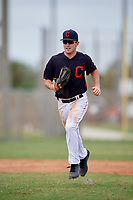 Ryan Holgate (20) while playing for Indians Scout Team based out of Cleveland, Ohio during the WWBA World Championship at the Roger Dean Complex on October 21, 2017 in Jupiter, Florida.  Ryan Holgate is a 2018 outfielder / pitcher from Davis, California who attends Davis High School.  (Mike Janes/Four Seam Images)