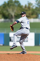 Peoria Javelinas relief pitcher Brandon Lawson (47), of the Milwaukee Brewers organization, delivers a pitch during an Arizona Fall League game against the Surprise Saguaros at Surprise Stadium on October 17, 2018 in Surprise, Arizona. (Zachary Lucy/Four Seam Images)