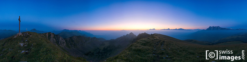 """Panorama from """"Pointe Bellevue"""" with """"Les Dents-du-Midi"""""""