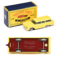 BNPS.co.uk (01202 558833)<br /> Pic: Vectis/BNPS<br /> <br /> Pictured: Matchbox Regular Wheels 31b Ford Fairlane Station Wagon<br /> <br /> One man's vast collection of model cars amassed over a lifetime has sold at auction for an incredible £250,000.<br /> <br /> Simon Hope, 68, has been collecting matchbox models since he was a small child and has bought over 4,000 over the past six decades.<br /> <br /> His hobby has cost him thousands of pounds and at and engulfed a huge slice of his life but he has now decided to part with the toys