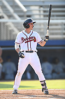 Michael Mateja (20) of the Danville Braves at bat against the Bluefield Blue Jays at American Legion Post 325 Field on July 28, 2019 in Danville, Virginia. The Blue Jays defeated the Braves 9-7. (Tracy Proffitt/Four Seam Images)